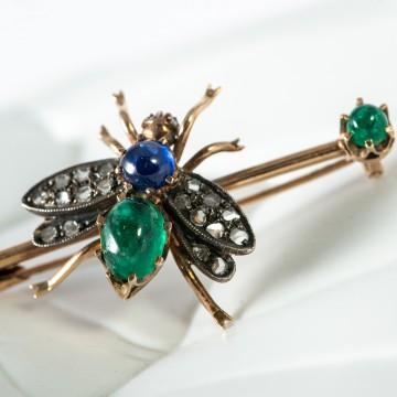 Spilla insetto zaffiro e smeraldi cabochon 1930