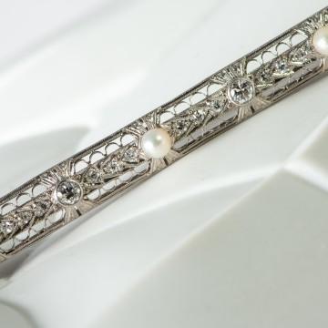Spilla decò diamanti e perle
