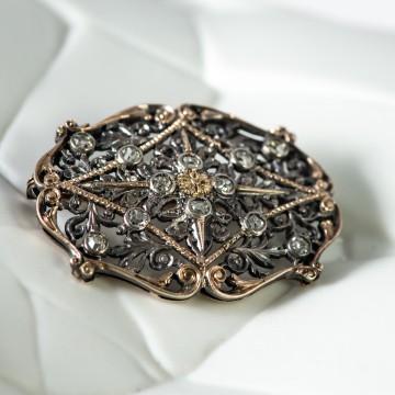 Spilla 1940 oro e argento con rosette