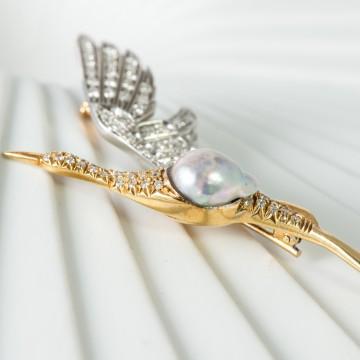 Spilla airone 1930 perla scaramazza