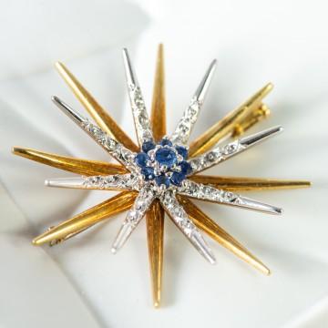 Spilla stella 8 punte zaffiri e diamanti