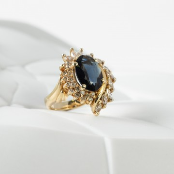 Anello zaffiro australiano e diamanti