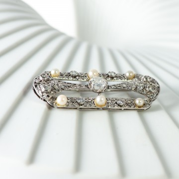 Spilla deco' perle e diamanti