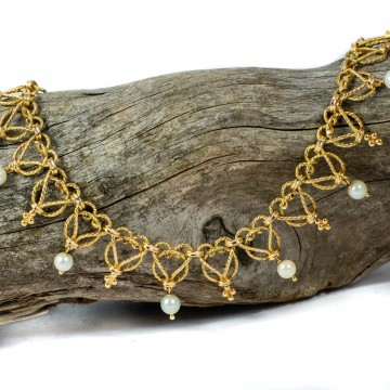 Collana oro e perle motivo cuore 1960