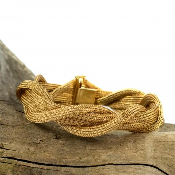 Bracciale 4 fasce design tessuto oro giallo