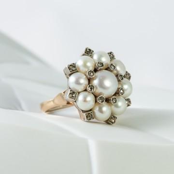Anello 1920 perle e diamanti