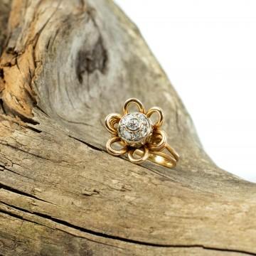 Anello 1940 fiore con diamanti