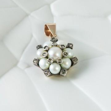 Ciondolo 1920  perle e diamanti demì parure