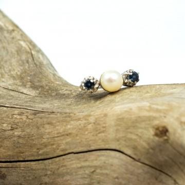 Anello due zaffiri e perla 1970