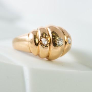 Anello 3 rosette diamanti