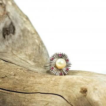 Anello perla e rubini cabochon 1960