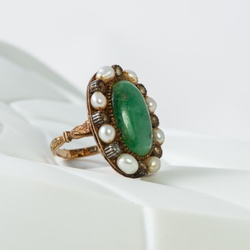 Anello giada perle e rosette inizio 1900