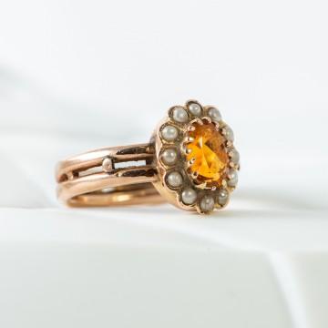 Anello topazio citrino e perle fine 1800
