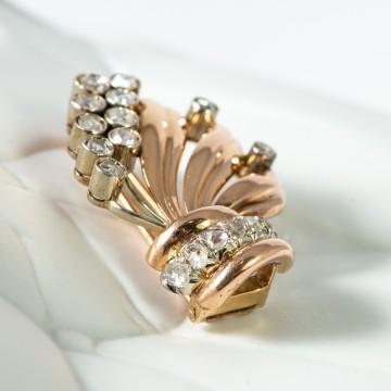 Spilla 2 ori e rosette di diamanti 1940