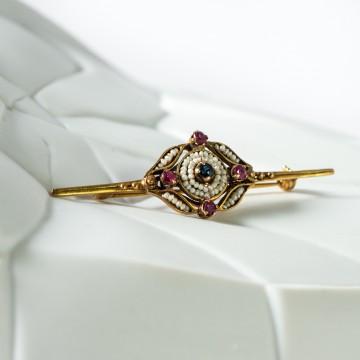 Spilla 1950 rubini zaffiro e perline