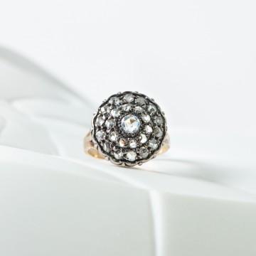 Anello fiore rosette diamanti