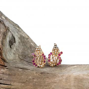 Orecchini inizio 1900 rubini e perline