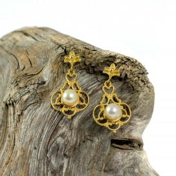 Orecchini 1920 oro giallo e perle