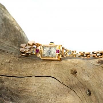 Orologio oro rosa rubini e diamanti 1940