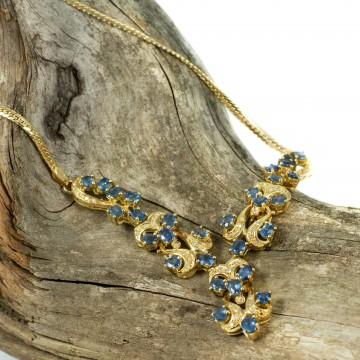 Collana oro giallo e zaffiri naturali 1980